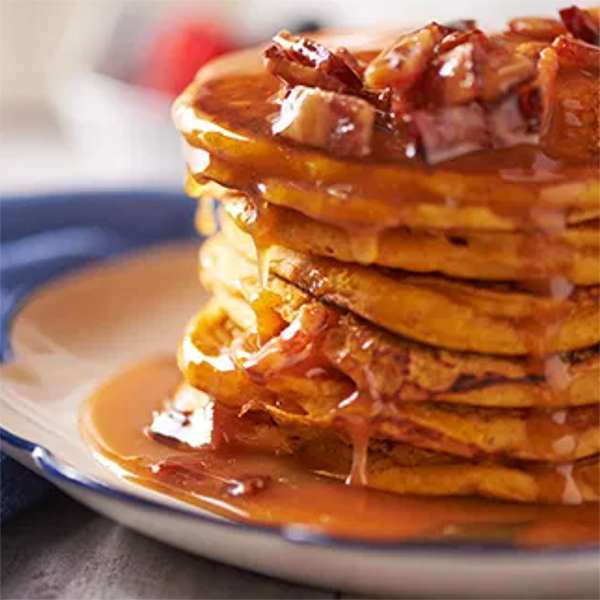Pumpkin Pancakes With Salted-Caramel-Bacon Syrup