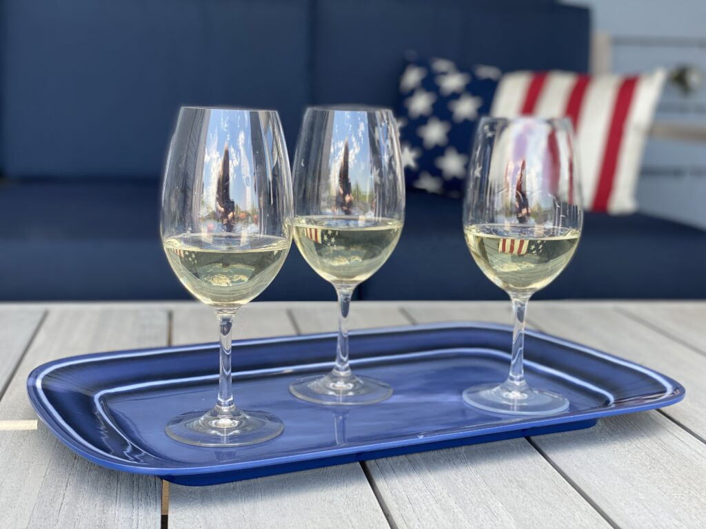 acrylic wine glasses at a summer party