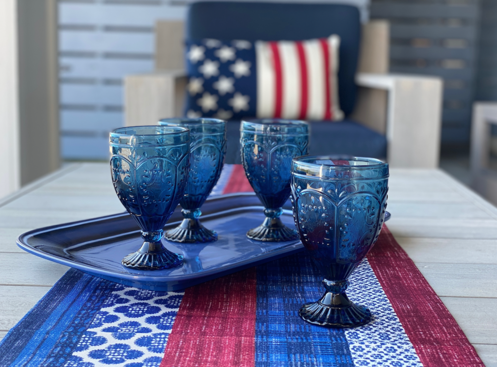 red white and blue goblets