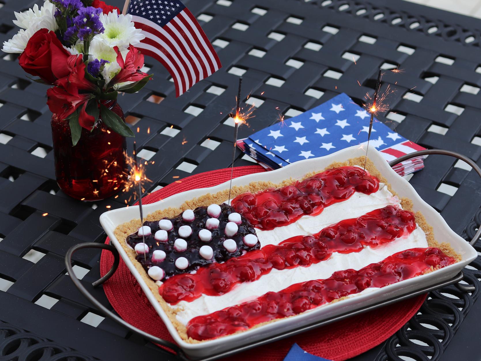 red white and blue cake dessert
