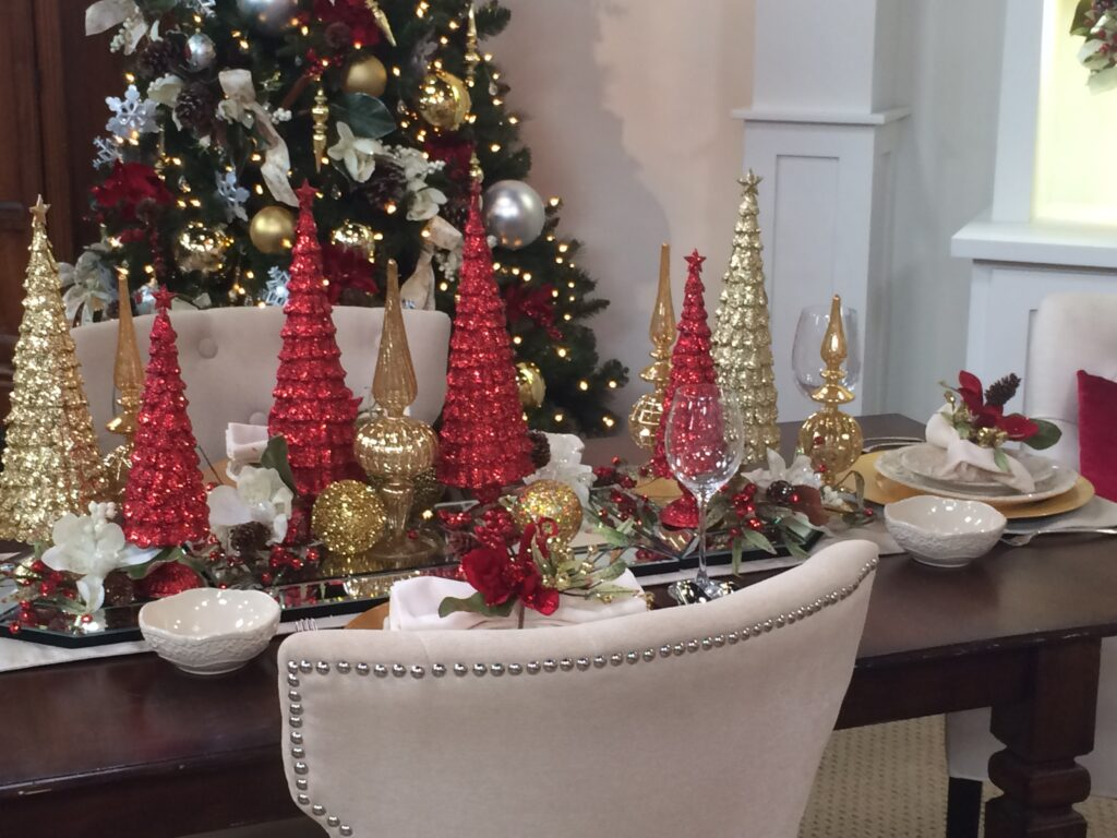 dining table set for Christmas