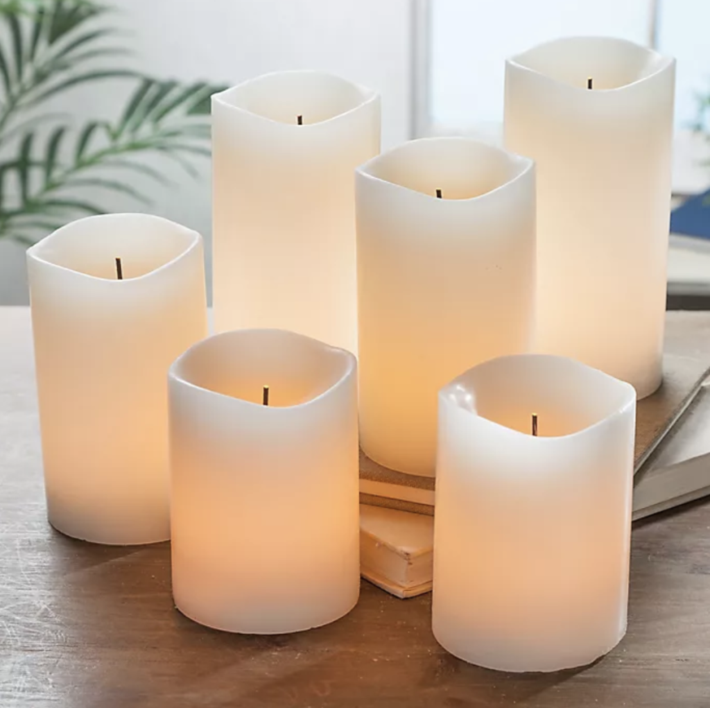 flameless candles make a pretty arrangment in a first apartment