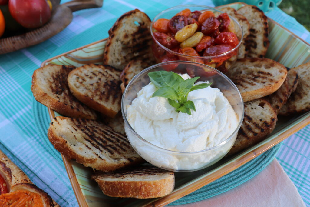 summer tomatoes and ricotta